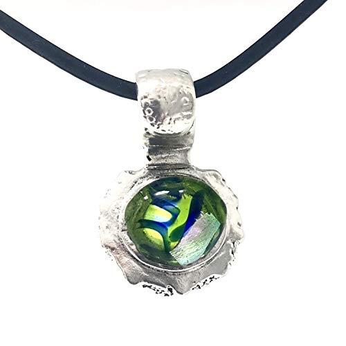 .999 Pure Silver, Green-Navy Glass Gem, Ocean Antiquity Pendant, Lorna Moglia ()