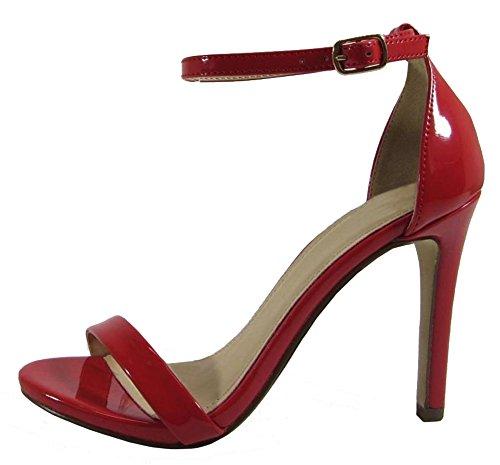 Cambridge Select Donna Open Toe Cinturino Alla Caviglia Con Fibbia Tacco A Spillo Tacco Alto Sandalo Rosso