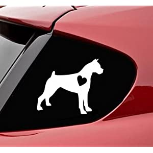 Keen Boxer with Heart Dog Vinyl Decal Sticker | Cars Trucks Vans Walls Laptop | White | 5 X 4 in Decal | KCD293 1