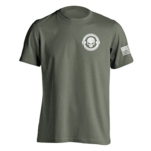 (Divided We Fall Military Sniper Skull T-Shirt Small Military Green)