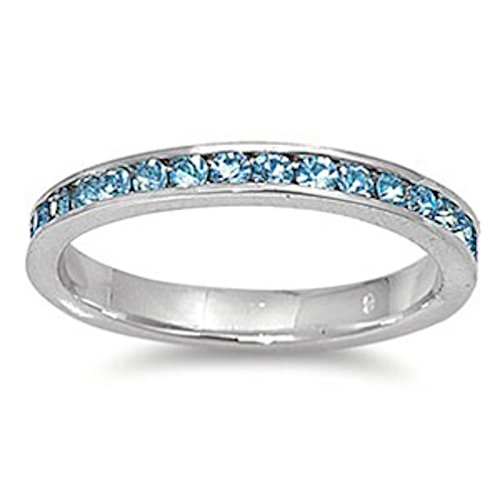 Simulated Aquamarine Stackable Eternity Wedding Anniversary Band .925 Sterling Silver SIZES 6