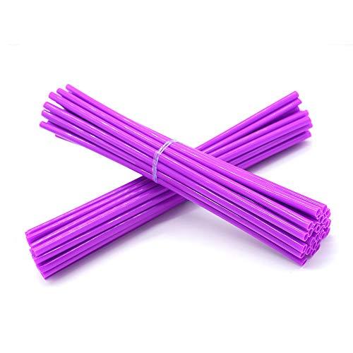 (Super Pop Bicycle Spoke Skins Wraps-Best Gift for Kids&Schoolmate&Bike Fans- Colorful Bike Wheel Decoration-72 Pcs(Purple))