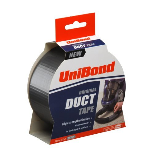 UniBond Original Duct Tape High Strength Adhesive - 50 mm x 25 m, Silver by Unibond Henkel Duct Tape