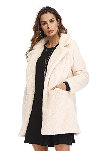 Sintética Mujer para Blanco Kemosen con Pelo Calentar Abrigo de Piel Chaqueta Larga Outwear de Invierno de Manga qwxUYPxaX