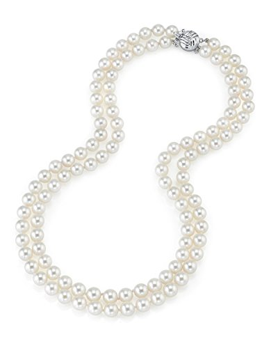 THE PEARL SOURCE 14K Gold 7.0-7.5mm AAA Quality Round Genuine White Double Japanese Akoya Saltwater Cultured Pearl Necklace in 17-18