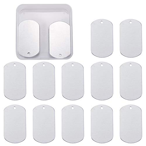 BENECREAT 30 Pack Stamping Blanks Aluminum Blank Pendants for Bracelet Earring Pendant Charms Dog Tags - 2x1.14, Rectangle Shape