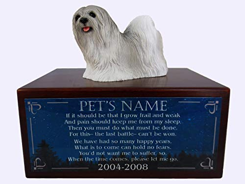 Conversation Concepts Beautiful Paulownia Small Wooden Urn with Lhasa Apso Gray Figurine & Personalized Poem The Last Battle