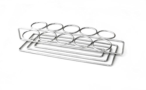 G.E.T. Enterprises Stainless Steel Stainless Steel Dessert Shooter Caddy with Ten Round Holders Stainless Steel Mini-Dessert Display Stands Collection 4-82010 (Pack of 1)