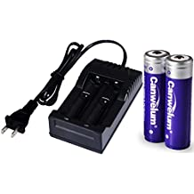 Canwelum Powerful 18650 Li-ion Battery and Charger, Protected 18650 Rechargeable Battery, 3.7V 18650 Lithium Ion Battery with Bigger Power Capacity – Applicable for High-power LED Flashlights, Headlamps or Laser Pointers, Not for E-cigarettes (A Set of 2 x 18650 Batteries and 1 x Charger)