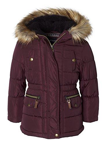 Sportoli Girls' Fashion Anorak Winter Puffer Jacket Coat with Plush Lined Hood - Burgundy (Size 14/16)