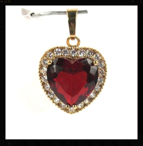 Ddang - Red Garnet gemstone 15x14mm Heart cut Pendant 9K ygf FREE 22'' P+1339 necklace JEW 0401 by Ddang