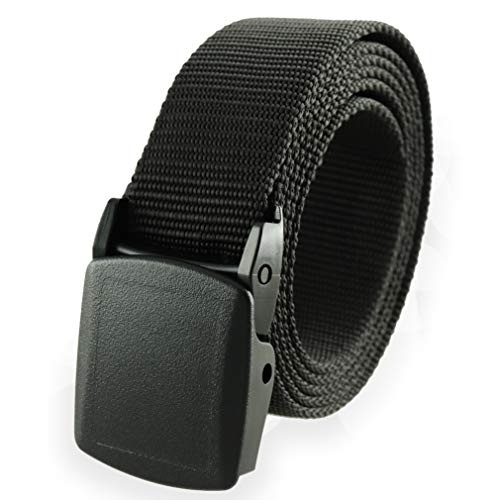 "Thomas Bates Nylon Web Belt Outdoor Breathable Trekker, Metal-Free Buckle 1-1/4"" Cut-to-size Made in USA (Black)"