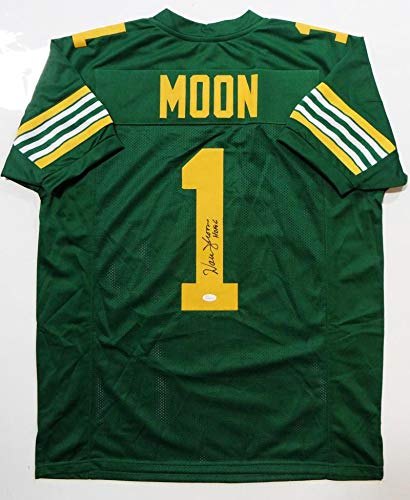 b2633b9dc Image Unavailable. Image not available for. Color  Warren Moon Autographed  Green Pro Style Jersey w HOF- JSA W Authenticated