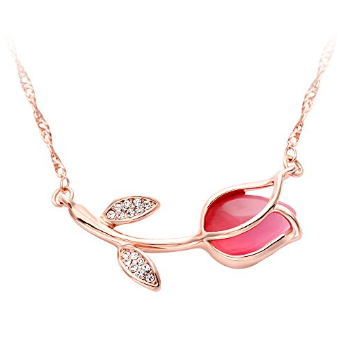 (SENFAI Rose Pink Tulip Flower with Cat Eyes Opal Stone Pendant Necklace Woman Gift 18