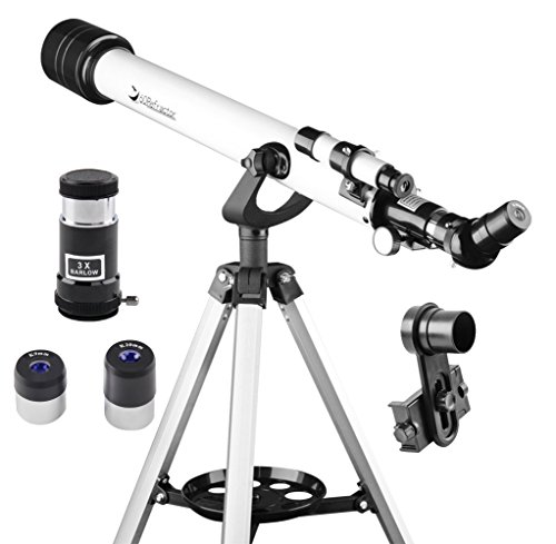 Refractor Telescope for adults and Astronomy Beginners, Travel Scope with Adjustable Tripod & Finderscope & Two Eyepieces(K20mm & K9mm)-Gift for - Eyepiece Adjustable