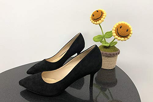 With Professional Single Temperament Girl High Shoes Heels Vibrato Black High heels Black Wild Yukun Female Female Fine Pointed Elegant q4wCOnxA