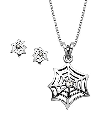 Stainless Steel Spider Web Pendant w Crystal Stone, 20 Box Chain Matching Stud Earrings
