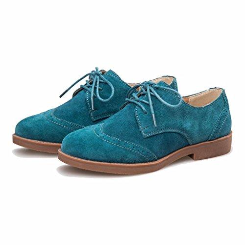 con de Gamuza Mujer Turquesa Zapatos Oxford Cordones Moonwalker ptw5q8
