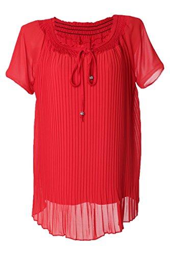Like Longshirt Plus Size Sommer mit Kurzarm & Rundhals Ausschnitt in Plissee Optik (XL=42, Rot)