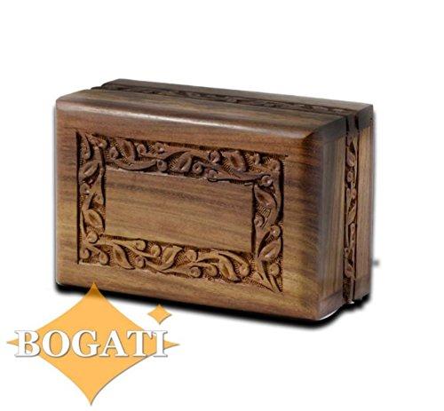 Hand Carved Rosewood Urn with Border Design - Medium by Bogati