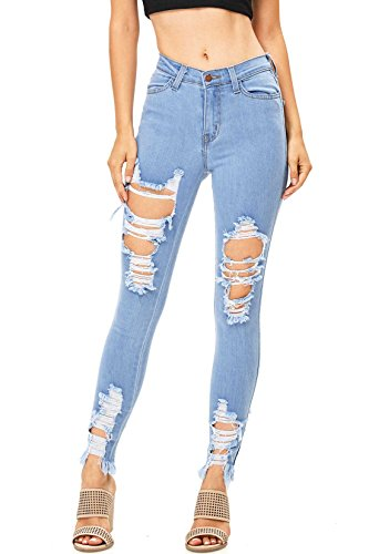 Vibrant Women's Juniors High Rise Jeans w Heavy Distressing (1, (Light Junior Jeans)