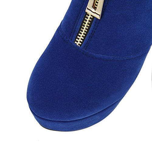 Stilettos Blue Top Closed Boots Spikes AmoonyFashion Round Frosted Imitated Womens Low Toe Suede n7xa7qgv