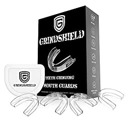 GRINDSHIELD Teeth Grinding Guard - Moldable, Trimmable - 4 Mouth Guards for Grinding Teeth & Case  Nightguard for Teeth Grinding, Clenching Night Guard, Bruxism Mouth Guard, Dental Guard, Mouthguard