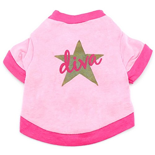 [SELMAI Diva Star Print Shirt T-shirt for Small Dog Cat Puppy Pink L] (L Themed Costumes)