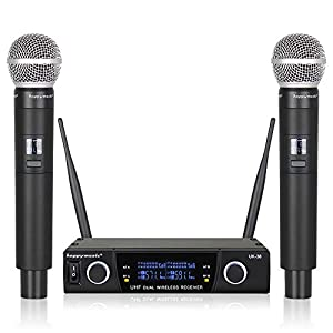 Dual UHF Professional Wireless Microphone System Karaoke Up to Range 200ft, Wedding, Conference,Evening Party, Meeting…