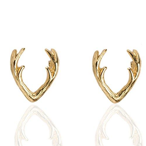 PAVOI 14K Yellow GOLD Plated Native American Jewelry Deer Antler Stud Earrings