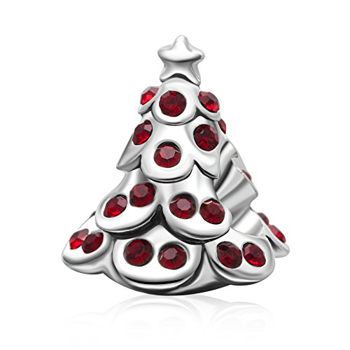 Merry Christmas Tree,Reindeer, Bell,Snowman Charms 925 Sterling Silver Xmas Gifts Bead Fit Bracelet (Red Tree) (Red Charm Snowman)