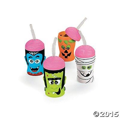 Halloween Brain Head Cups with Lids & Straws