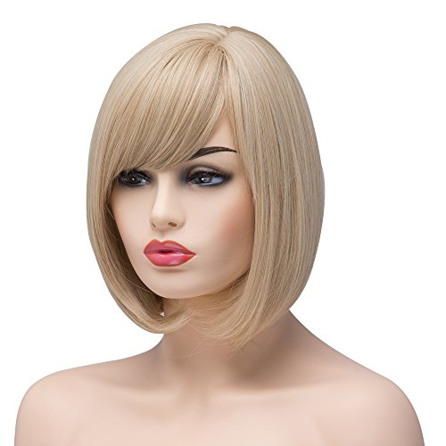 BESTUNG Short Bob Straight Synthetic Blonde Highlight Wigs for Women -