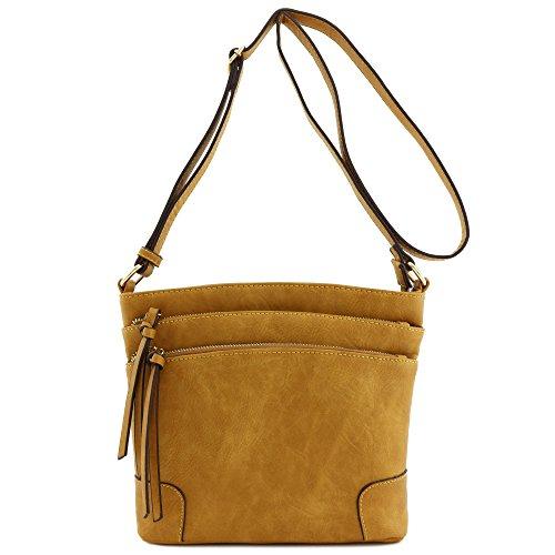 Triple Zip Pocket Medium Crossbody Bag Mustard