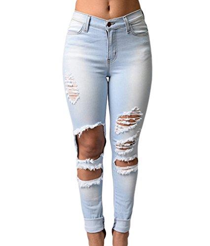 ZKOO Femmes Ripped Jeans Coton Skinny Slim Denim Pantalons Crayon Pantalon Dchirs Collants Pants Sexy Bleu Clair
