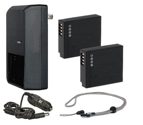 Panasonic Lumix DMC-LX10 High Capacity 'Intelligent' Batteries (2 Units) + AC/DC Travel Charger + Neck Strap by Digital Nc