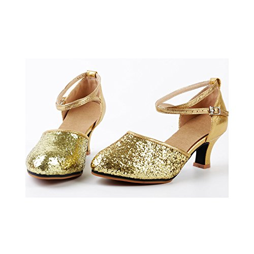 Kitten Sequined Toe Latin Dance OCHENTA Womens Heel Leather Rubber Pointed Gold Shoes Ballroom xXw5wfCqA