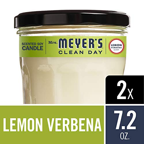 Mrs. Meyer's Clean Day Scented Soy Candle, Large Glass, Lemon Verbena, 7.2 oz, 2 ct