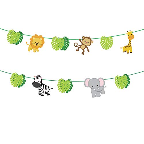 CC HOME Jungle Safari Theme Party Supplies,Tropical Palm leaves Garland Banner ,Wild One,Forest Zoo Animal Decorations , Jungle Safari Party Decorations for Boys ,Girls Birthday ,Baby shower /Hawaiian/ Luau/Jungle Party Table Decorations Favor