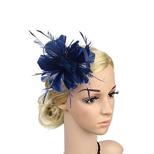 VACIGODEN Women Fascinator Flax Hair Clip Feather Barrette Hairpin Headband Cocktail -