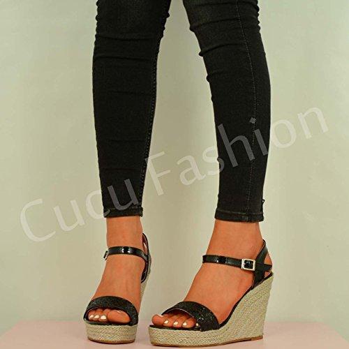 Cucu Fashion plataformas para mujer, con purpurina, cuñas 2016,se atan al tobillo, sandalias Negro - negro