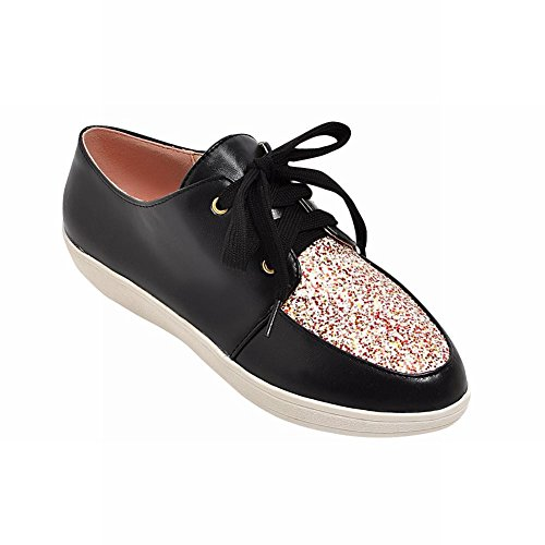 Latasa Womens Fashion Lace-up Low Heel Oxfords, Platform Oxfords Black
