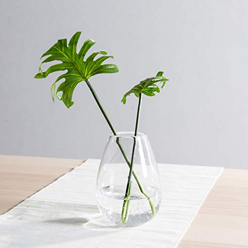 CASAMOTION Vases Hand Blown Art Glass Vase, Oxygen Bubbles Seeded Centerpiece Vases for Flower Arrangement, Clear, 6''h.