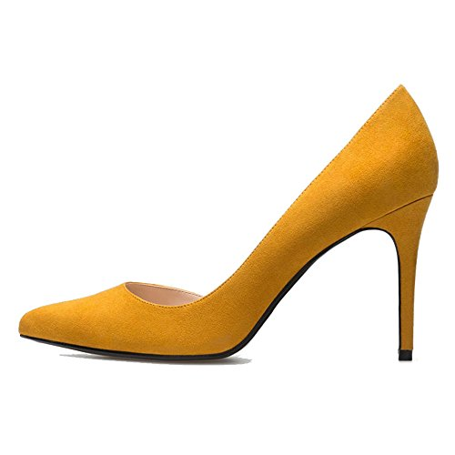 uBeauty Women's High Heel Court Shoes Pointed Toe Slip On D'Orsay Stiletto Heels Basic Shoes for Work yellow heel 10cm