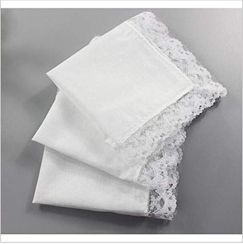 15pcs wholePersonalized White lace Handkerchief Woman Wedding Gifts Squares Cotton Handkerchiefs