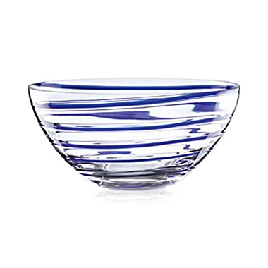 Kate Spade New York Charlotte Street Centerpiece Bowl Glass Blue Rings Lenox
