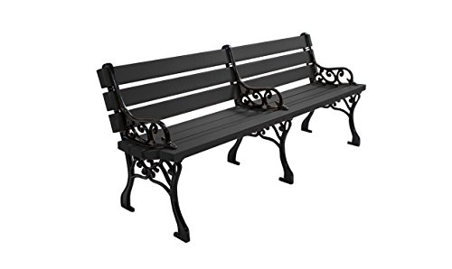 Kirby Built Products 6' Recycled Plastic Classic Park Bench - Black (6' Recycled Plastic Table)