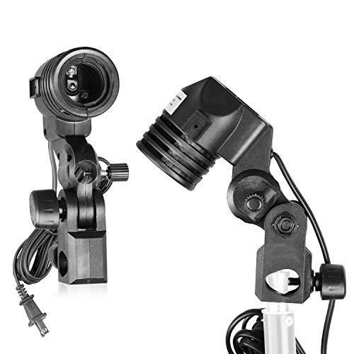 LimoStudio [2 PACK] E26 / E27 New AC Socket Light Stand Mount Lamp Holder with Umbrella Holder, AGG428