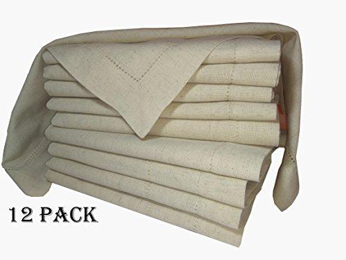 PACK of 12,Flax Cotton Designer Dinner Napkins20x20,Hemstitched Natural Color by Linen Clubs – Premium Linen Look – 20% Linen  80% Cotton Natural Fib…