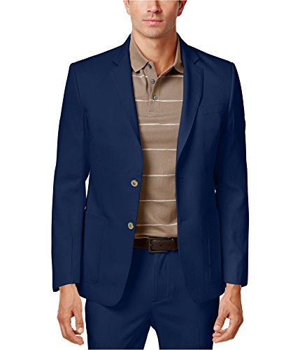 Tasso Elba Mens Silk Blend Two Button Blazer Jacket Blue XL